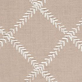 Dinah - Shell - Rows of tiny white leaves arranged in a simple grid pattern on stone grey coloured fabric made from polyester and cotton