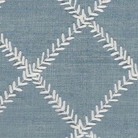 Dinah - Sky - Polyester and cotton blend fabric made in white and denim blue, with tiny white leaves arranged in a simple grid pattern