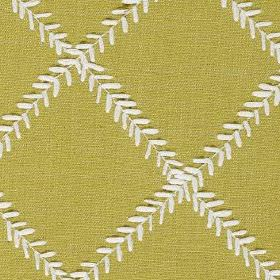 Dinah - Zest - A simple grid design made up of tiny white leaves arranged on light olive green polyester and cotton blend fabric