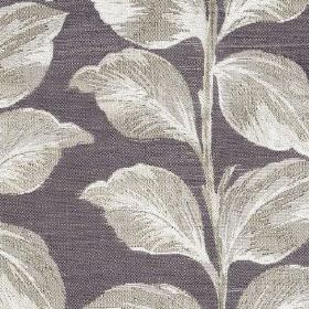 Mabel - Amethyst - Leaves shaded in white and light grey colours on a dark indigo coloured polyester and cotton blend fabric background