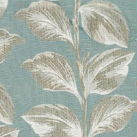 Mabel - Duck Egg - Fabric made from polyester and cotton in a light shade of dusky blue, with elegant leaves shaded in light grey colours