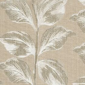 Mabel - Linen - An elegant design of large, shaded leaves printed in three different light grey tones on polyester and cotton blend fabric