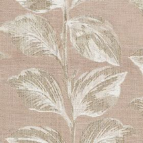 Mabel - Shell - Very pale purple-grey polyester and cotton blend fabric, with large, elegant shaded leaves in two light shades of grey