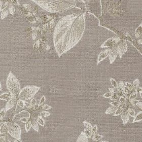 Cosima - Dove - Silver and light grey colours making up an elegant, sophisticated pattern of leaves on polyester and cotton blend fabric