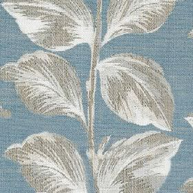 Mabel - Sky - Large, elegant leaves shaded in white and light grey, on polyester and cotton blend fabric in a light shade of denim blue