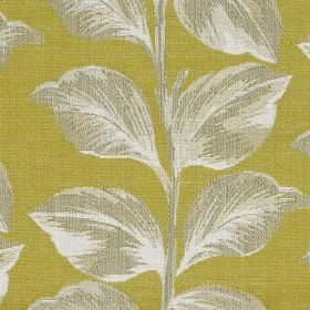 Mabel - Zest - Polyester and cotton blend fabric made in olive green, patterned with large, elegant leaves shaded in white & light grey