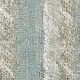 Otis - Duck Egg - Fabric made from polyester and cotton featuring vertical stripes behind a rough, patchy design in pale grey and blue