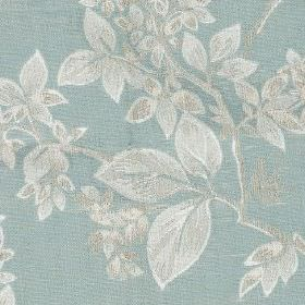 Cosima - Duck Egg - Elegant leaf patterns made in silvery white on a light duck egg blue coloured polyester and cotton blend fabric background