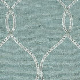 Roscoe - Duck Egg - Duck egg blue coloured polyester and cotton blend fabric behind thin wavy white lines and small light blue circles