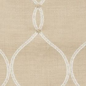 Roscoe - Linen - Fabric made from creamy beige coloured polyester and cotton, with a pattern of wavy lines and circles in beige and white