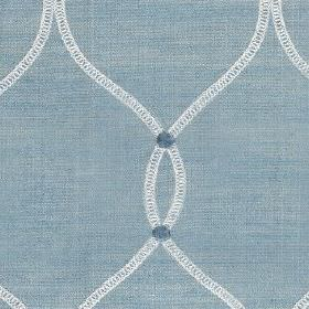 Roscoe - Sky - White and two classic shades of blue making up a design of wavy lines and small circles on polyester and cotton fabric
