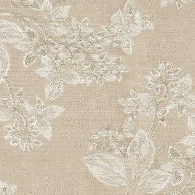 Cosima - Linen - Leaf patterned fabric blended from polyester and cotton in light beige and silvery white shades