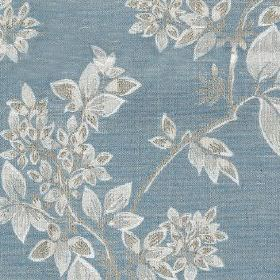Cosima - Sky - Polyester and cotton blend fabric made in light, dusky blue, patterned with small, elegant silver coloured leaves