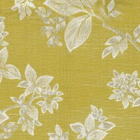 Cosima - Zest - White and yellow-green coloured polyester and cotton blend fabric featuring an elegant, stylish pattern of leaves