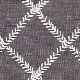 Dinah - Amethyst - Tiny white leaves arranged in a simple grid pattern on an indigo coloured polyester and cotton blend fabric background