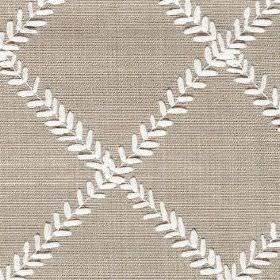 Dinah - Dove - Light grey fabric made from polyester and cotton, patterned with a simple grid made up of rows of tiny white leaves
