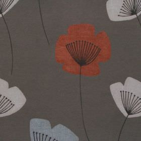 Nancy - Smoke - Simple red and white modern floral design on smoke grey fabric
