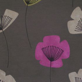 Nancy - Fuschia - Simple fuchsia pink and white modern floral design on grey fabric