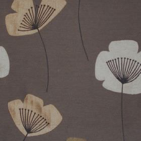 Nancy - Caramel - Simple caramel ochre and white modern floral design on grey fabric