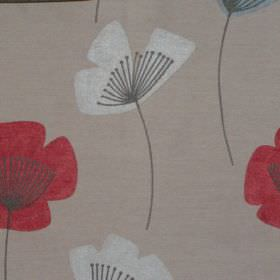 Nancy - Alpine - Simple red and white modern floral design on alpine grey fabric