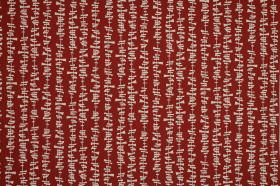 Kita - Poppy - Rows of tiny uneven white dashes on a blood red coloured 100% cotton fabric background