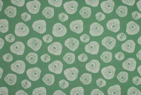 Moira - Aqua - Fabric made from 100% cotton in spearmint green, printed with irregular shapes which are patterned and sized differently