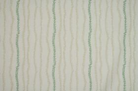 Ranka - Aqua - Fuzzily drawn lines in dusky green and beige creating an uneven vertical stripe design on pale grey 100% cotton fabric