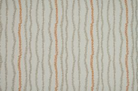 Ranka - Orange - Pale grey coloured 100% cotton fabric featuring an uneven design of stripes drawn fuzzily in darker grey & burnt orange