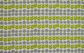 Cal - Apple - 100% cotton fabric in light grey, behind a design of rows of iron grey circles and simple leaf shapes in grass green