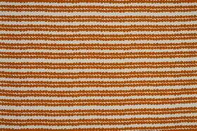 Redig - Orange - 100% cotton fabric made in pale grey and bright, burnt orange, featuring a horizontal stripe design made up of tiny dots