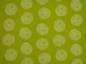 Sylloda - Apple - Simple stylised roses created by off-white coloured swirls on a background of bright lime green 100% cotton fabric