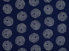 Sylloda - Indigo - 100% cotton fabric in navy blue and white, patterned with a stylish stylised rose design formed by simple swirls