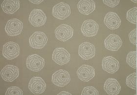 Sylloda - Putty - Fabric made entirely from beige and white coloured cotton with a pattern of swirls creating stylised roses