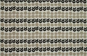 Cal - Black - Fabric made from 100% cotton in black and two different shades of grey, patterned with circles and rows of simple leaves