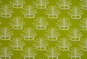Valja - Apple - White leaf outlines and geometric shapes as a repeated print pattern on lime green coloured 100% cotton fabric