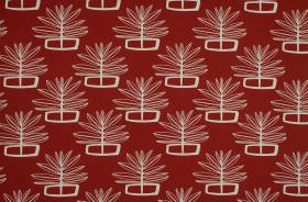 Valja - Poppy - Geometric shapes and outlines of leaves printed in white on a claret coloured 100% cotton fabric background