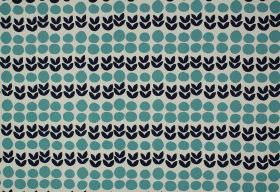 Cal - Indigo - Rows of turquoise dots printed with small navy blue leaves on a pale blue 100% cotton fabric background