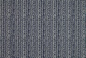 Clark - Indigo - Tightly spaced light grey coloured wiggly lines running vertically down navy blue 100% cotton fabric