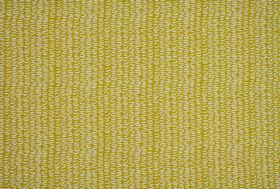 Clark - Ochre - Mustard yellow 100% cotton fabric, patterned with vertical stripes created by rows of tightly spaced white wiggly lines
