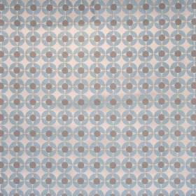 Reece - Petrol - White fabric with a grid of petrol blue spots with grey spots inside them