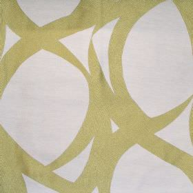 Lola - Meadow - White fabric with random meadow green stroke pattern