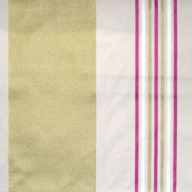 Roma - Watermelon - Light sandy and green banded fabric with narrow watermelon pink stripes
