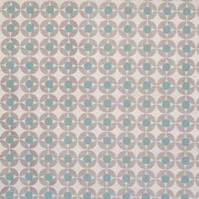 Reece - Dove - White fabric with a grid of dove grey spots with blue spots inside them