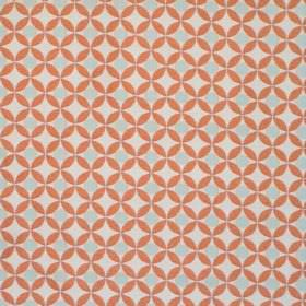 Reece - Alpine - White fabric with a grid of orange spots with alpine grey spots inside them