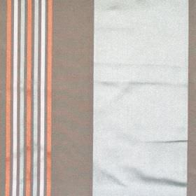Roma - Alpine - Alpine grey and brown banded fabric with narrow orange stripes