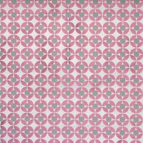 Reece - Raspberry - White fabric with a grid of raspberry pink spots with grey spots inside them