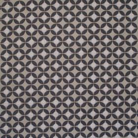 Reece - Graphite - Dark sandy fabric with a grid of graphite black spots with cream spots inside them