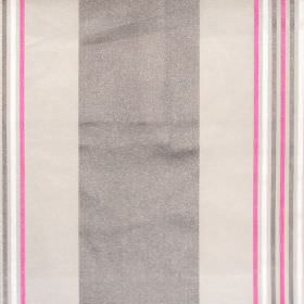 Roma - Raspberry - Dark and light grey banded fabric with narrow raspberry stripes