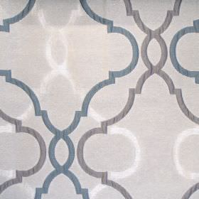Malone - Petrol - Sandy fabric with classic petrol blue pattern
