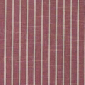 Huntington - Hibiscus - Mulberry coloured 100% cotton fabric patterned with evenly spaced, thin, vertical light grey stripes
